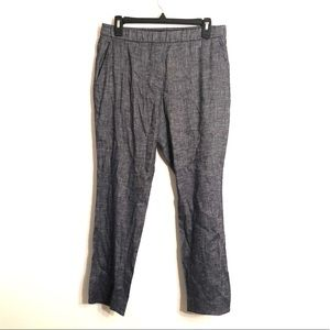 [Theory] Blue/White Linen Cropped Pants - Size 6